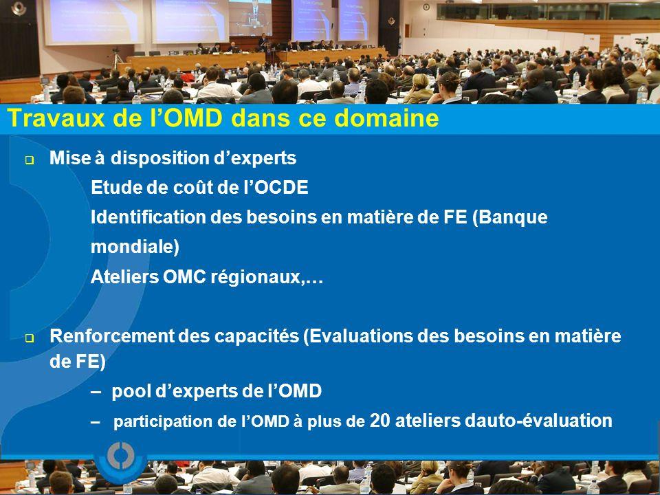 Travaux de lOMD dans ce domaine Mise à disposition dexperts Etude de coût de lOCDE Identification des besoins en matière de FE (Banque mondiale) Ateli
