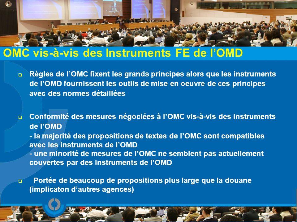 OMC vis-à-vis des Instruments FE de lOMD Règles de lOMC fixent les grands principes alors que les instruments de lOMD fournissent les outils de mise e