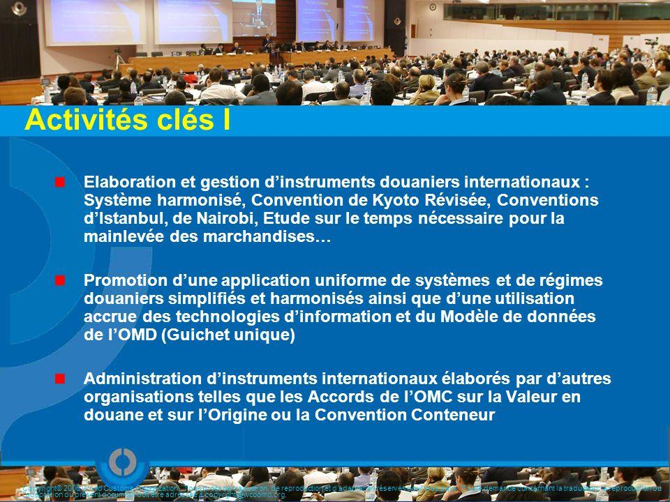 Activités clés I Elaboration et gestion dinstruments douaniers internationaux : Système harmonisé, Convention de Kyoto Révisée, Conventions dIstanbul,