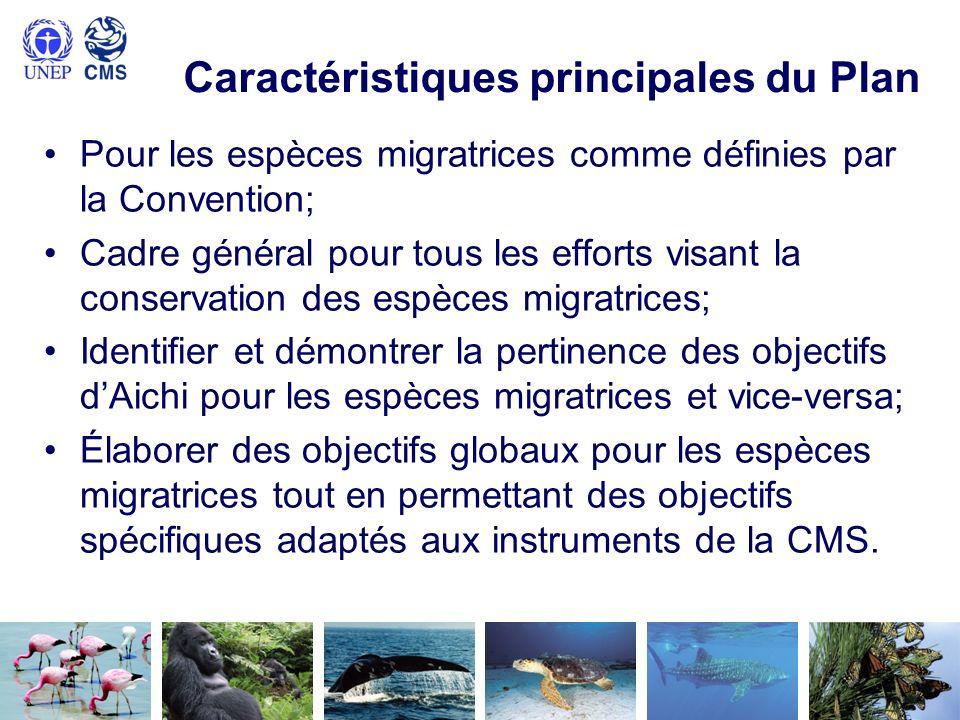 Caractéristiques principales du Plan Pour les espèces migratrices comme définies par la Convention; Cadre général pour tous les efforts visant la cons