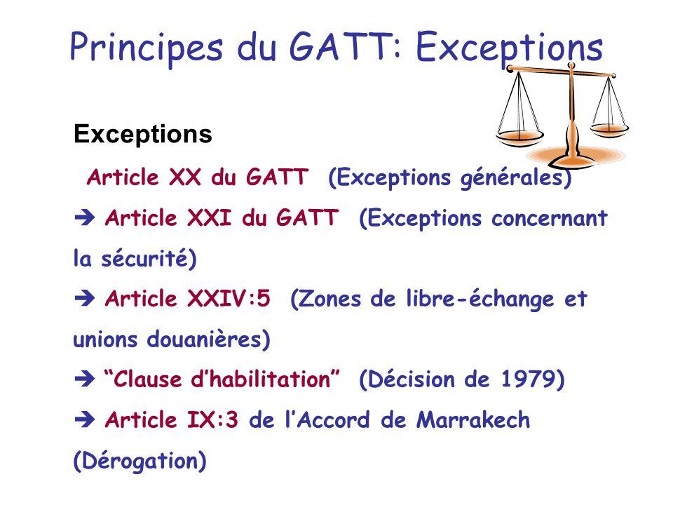 TRAITEMENT NATIONAL Pas de discrimination entre les produits importés et les produits dorigine nationale –Évaluation des taxes –Application des règlem