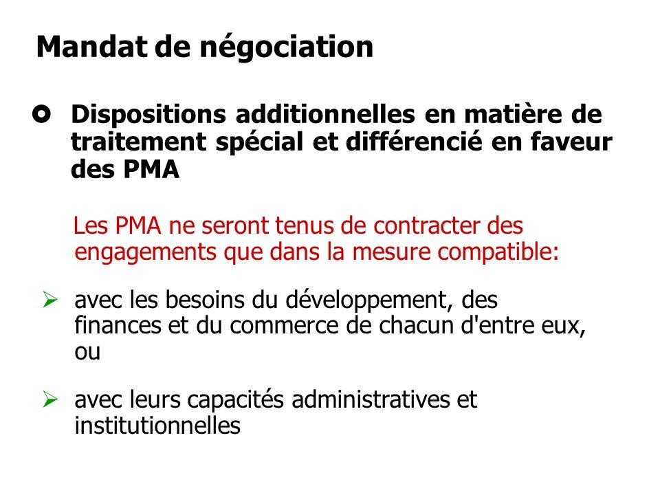 Les résultats des négociations tiendront pleinement compte du principe du TSD Traitement spécial et différencié (TSD) Devrait aller au-delà des périod
