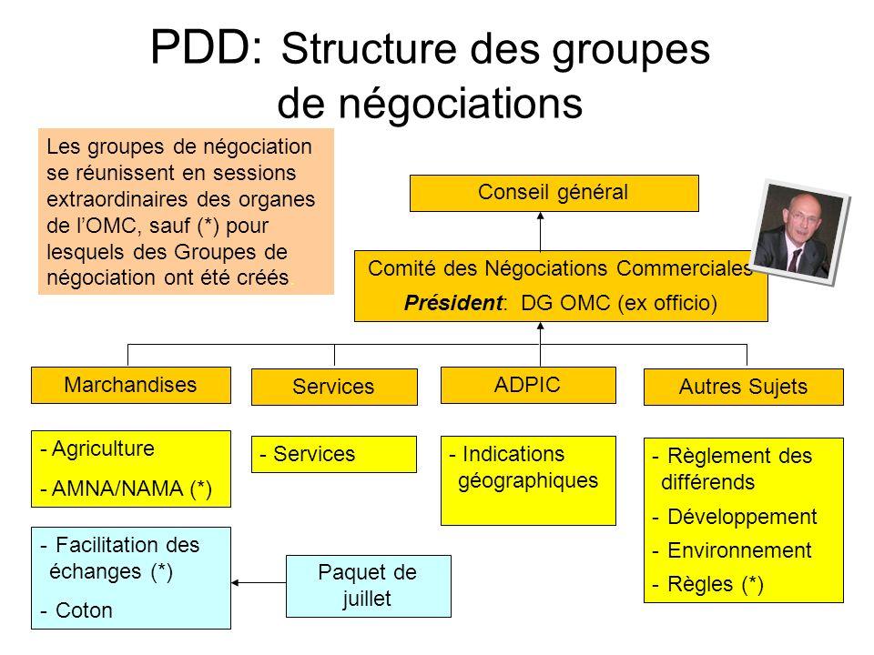 PDD: Structure des groupes de négociations Conseil général Comité des Négociations Commerciales Président: DG OMC (ex officio) Marchandises Services ADPIC Autres Sujets - Agriculture - AMNA/NAMA (*) - Services- Indications géographiques - Règlement des différends - Développement - Environnement - Règles (*) Les groupes de négociation se réunissent en sessions extraordinaires des organes de lOMC, sauf (*) pour lesquels des Groupes de négociation ont été créés.