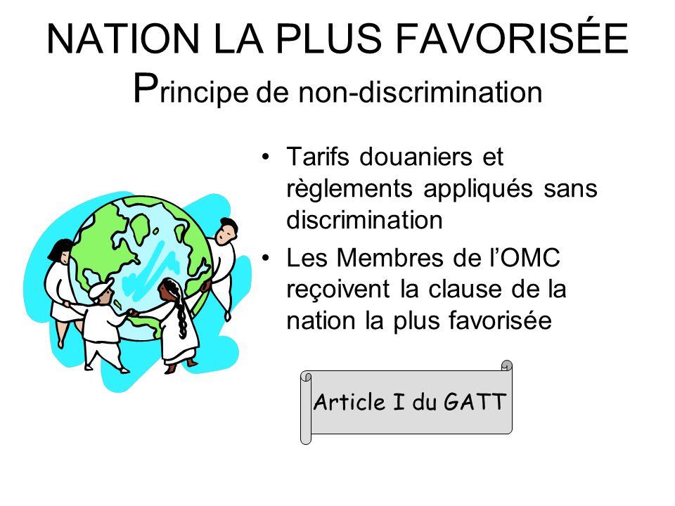 NATION LA PLUS FAVORISÉE P rincipe de non-discrimination Tarifs douaniers et règlements appliqués sans discrimination Les Membres de lOMC reçoivent la clause de la nation la plus favorisée Article I du GATT