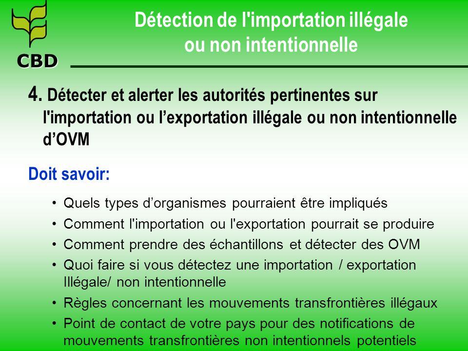 CBD Détection de l'importation illégale ou non intentionnelle 4. Détecter et alerter les autorités pertinentes sur l'importation ou lexportation illég
