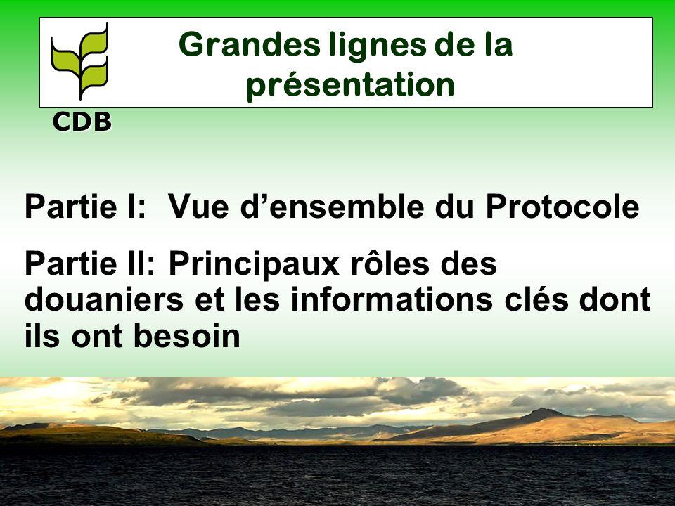 Grandes lignes de la présentation Partie I: Vue densemble du Protocole Partie II: Principaux rôles des douaniers et les informations clés dont ils ont besoin CDB