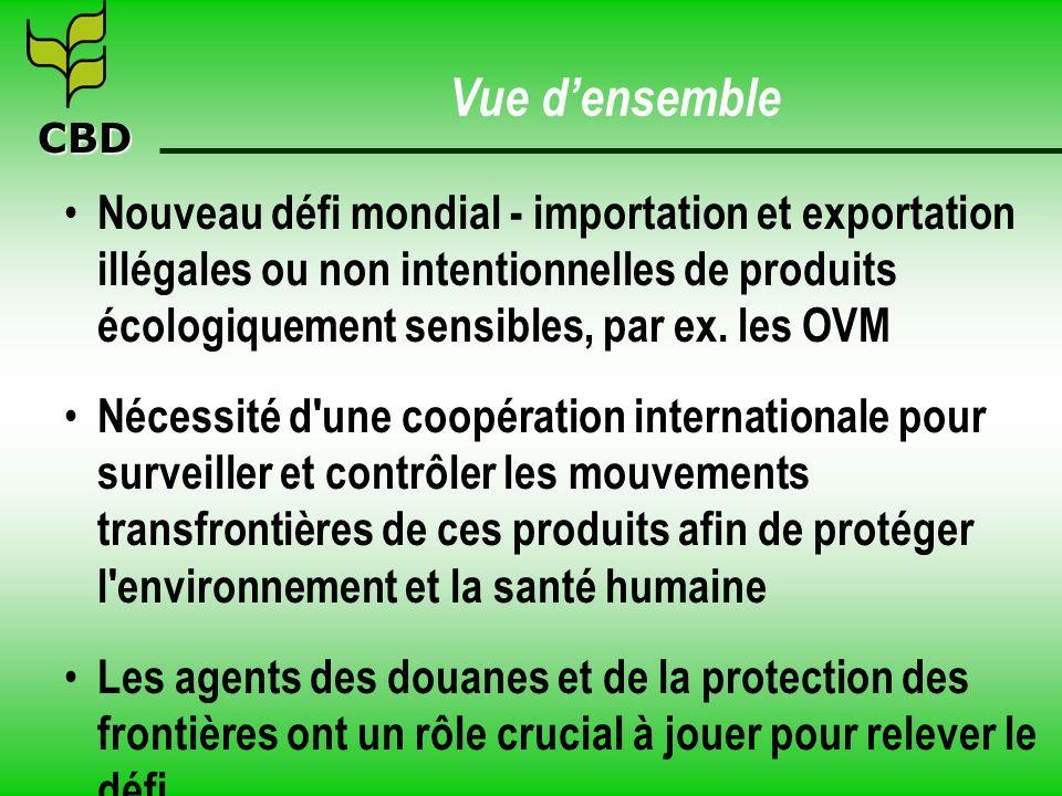 CBD Vue densemble Nouveau défi mondial - importation et exportation illégales ou non intentionnelles de produits écologiquement sensibles, par ex.