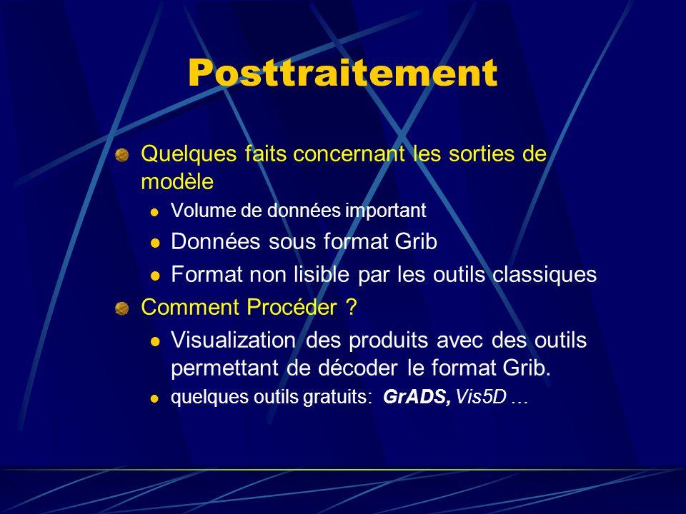 Posttraitement Quelques faits concernant les sorties de modèle Volume de données important Données sous format Grib Format non lisible par les outils classiques Comment Procéder .