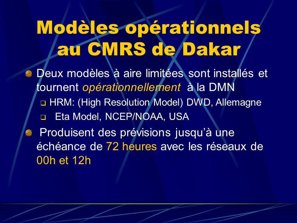 Modèles opérationnels au CMRS de Dakar Deux modèles à aire limitées sont installés et tournent opérationnellement à la DMN HRM: (High Resolution Model) DWD, Allemagne Eta Model, NCEP/NOAA, USA Produisent des prévisions jusquà une échéance de 72 heures avec les réseaux de 00h et 12h