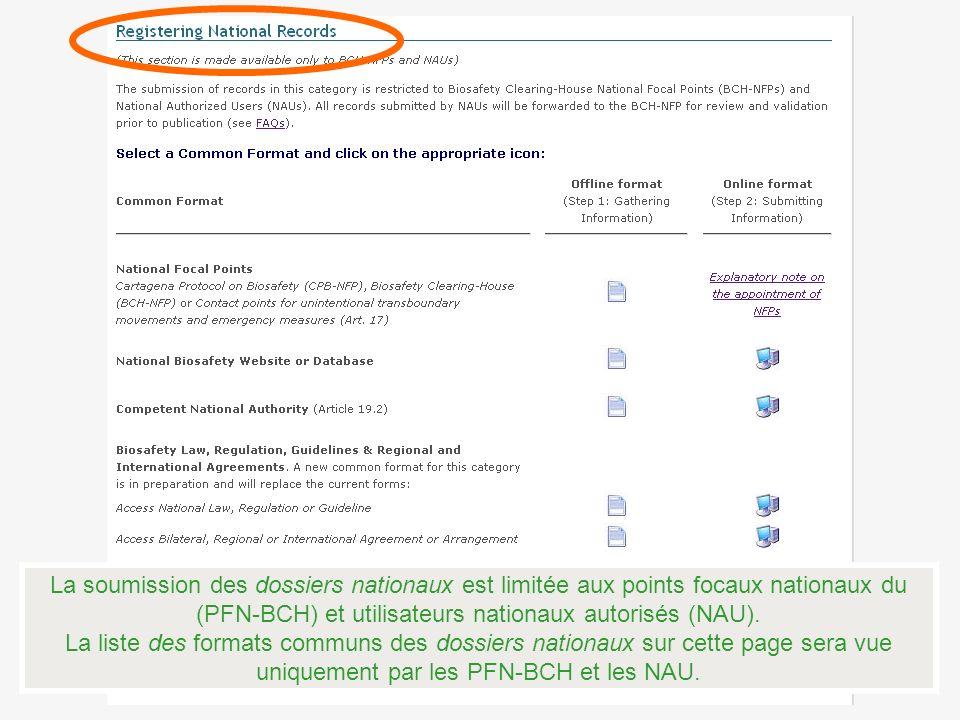 La soumission des dossiers nationaux est limitée aux points focaux nationaux du (PFN-BCH) et utilisateurs nationaux autorisés (NAU).