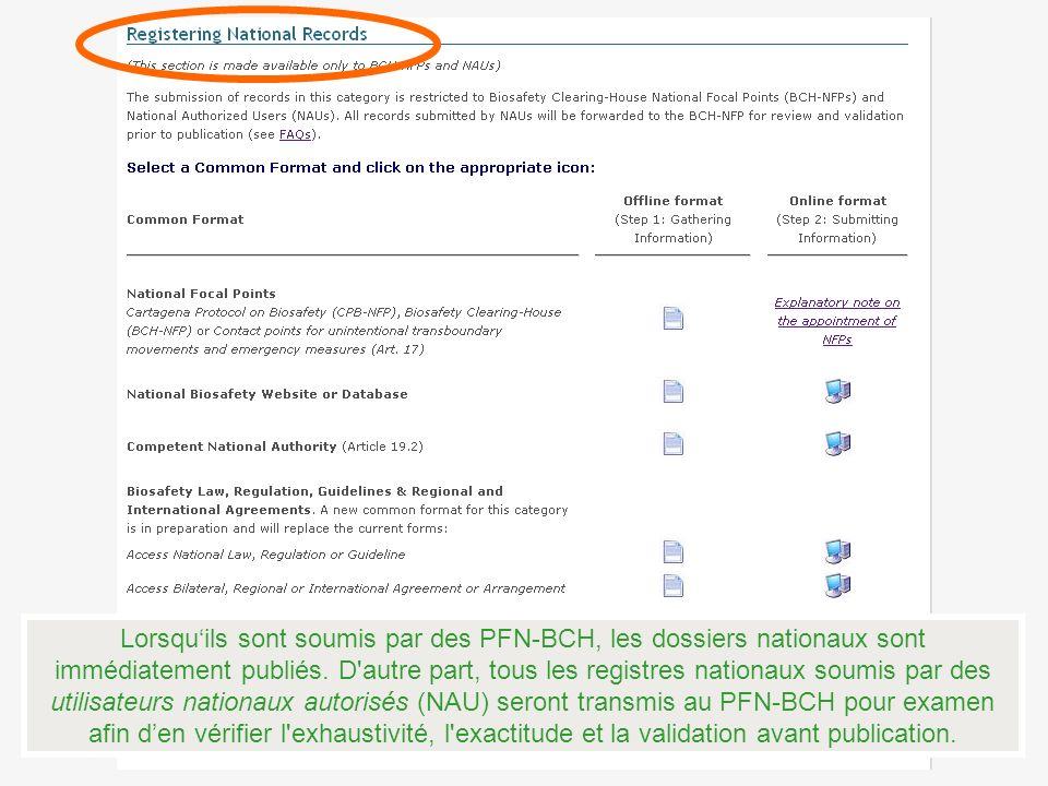 Lorsquils sont soumis par des PFN-BCH, les dossiers nationaux sont immédiatement publiés.