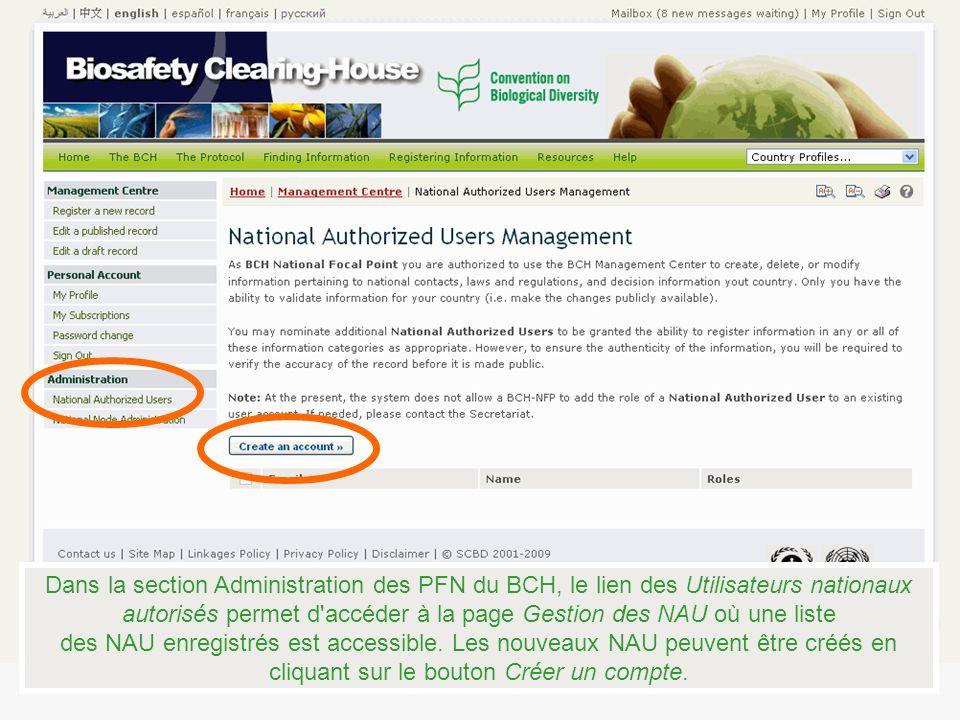 Dans la section Administration des PFN du BCH, le lien des Utilisateurs nationaux autorisés permet d accéder à la page Gestion des NAU où une liste des NAU enregistrés est accessible.