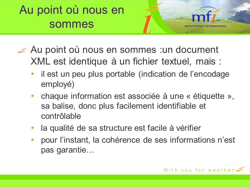 Au point où nous en sommes Au point où nous en sommes :un document XML est identique à un fichier textuel, mais : il est un peu plus portable (indicat
