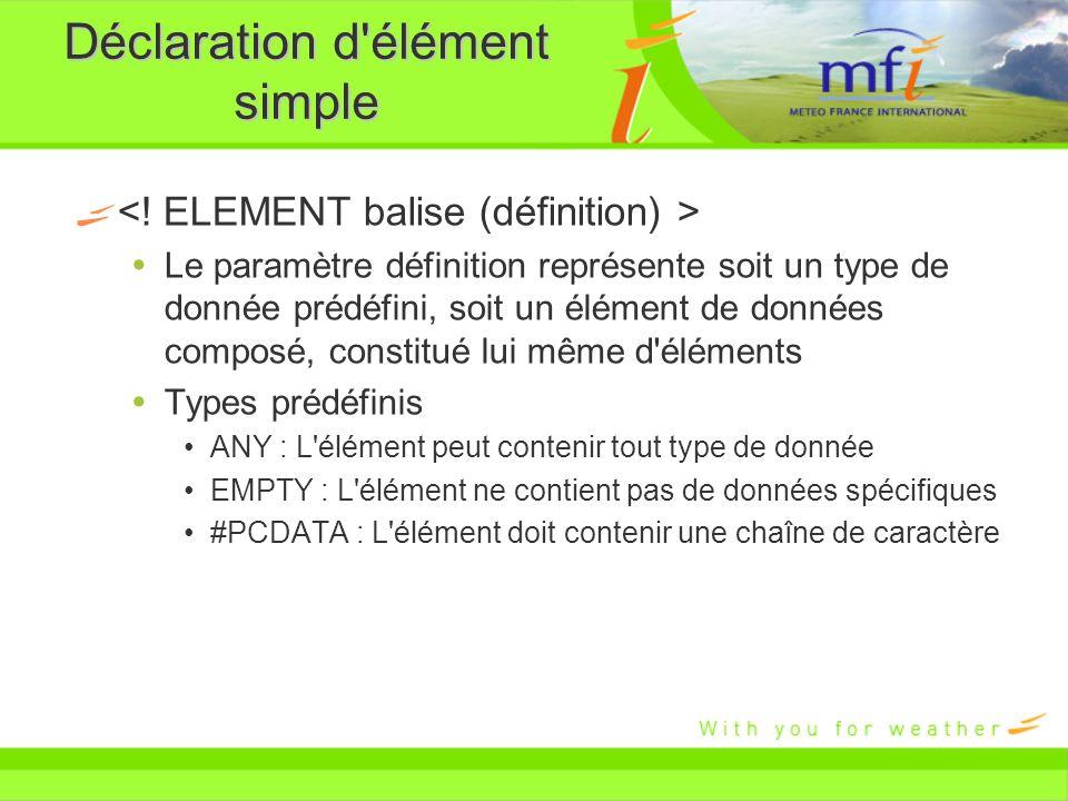 Déclaration d'élément simple Le paramètre définition représente soit un type de donnée prédéfini, soit un élément de données composé, constitué lui mê