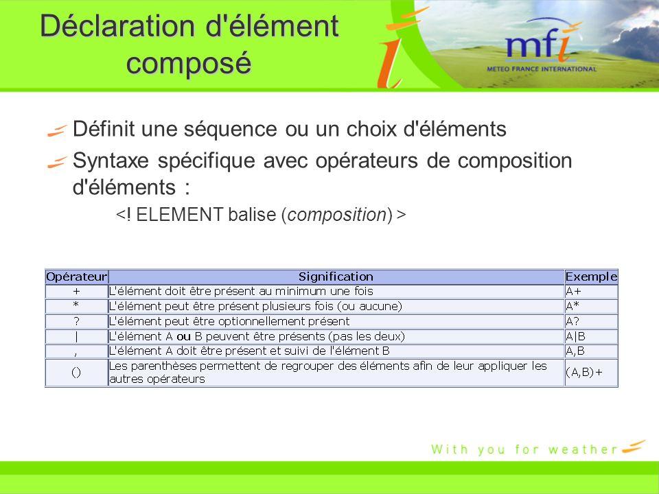 Déclaration d'élément composé Définit une séquence ou un choix d'éléments Syntaxe spécifique avec opérateurs de composition d'éléments :