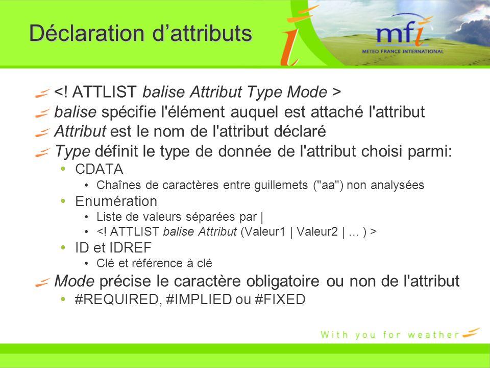 Déclaration dattributs balise spécifie l'élément auquel est attaché l'attribut Attribut est le nom de l'attribut déclaré Type définit le type de donné