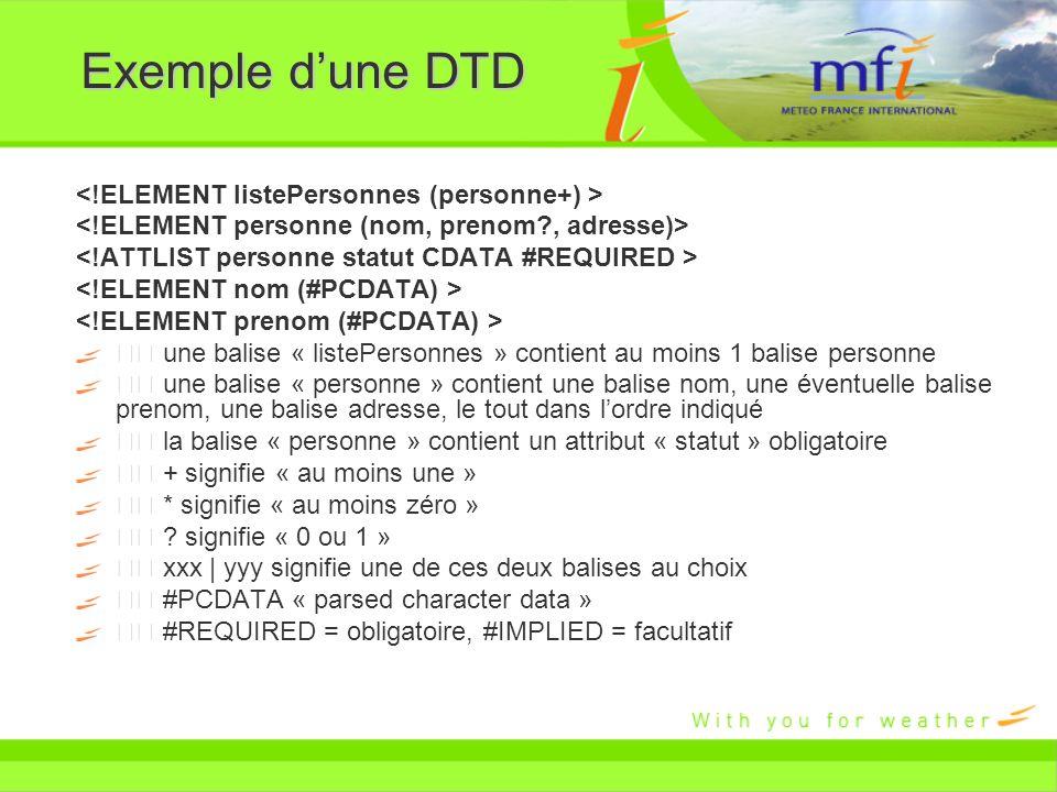 Exemple dune DTD une balise « listePersonnes » contient au moins 1 balise personne une balise « personne » contient une balise nom, une éventuelle bal