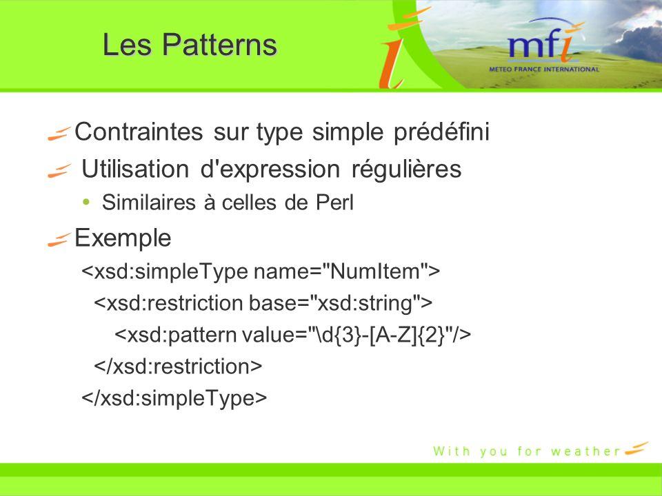 Les Patterns Contraintes sur type simple prédéfini Utilisation d'expression régulières Similaires à celles de Perl Exemple