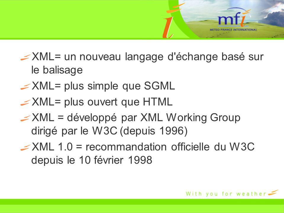 XML= un nouveau langage d'échange basé sur le balisage XML= plus simple que SGML XML= plus ouvert que HTML XML = développé par XML Working Group dirig
