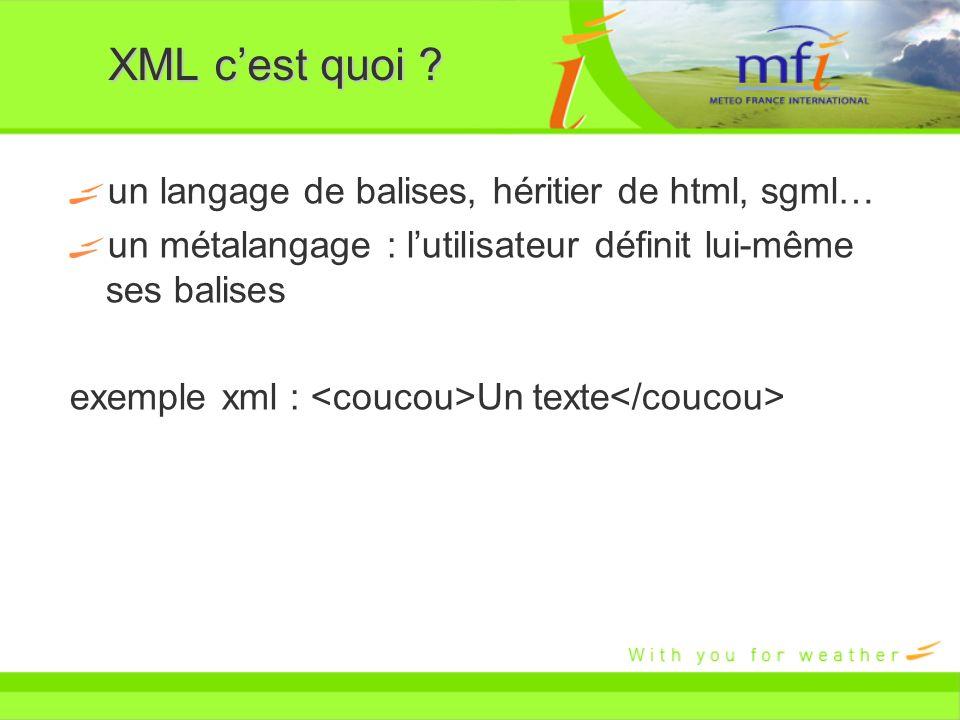 XML cest quoi ? un langage de balises, héritier de html, sgml… un métalangage : lutilisateur définit lui-même ses balises exemple xml : Un texte