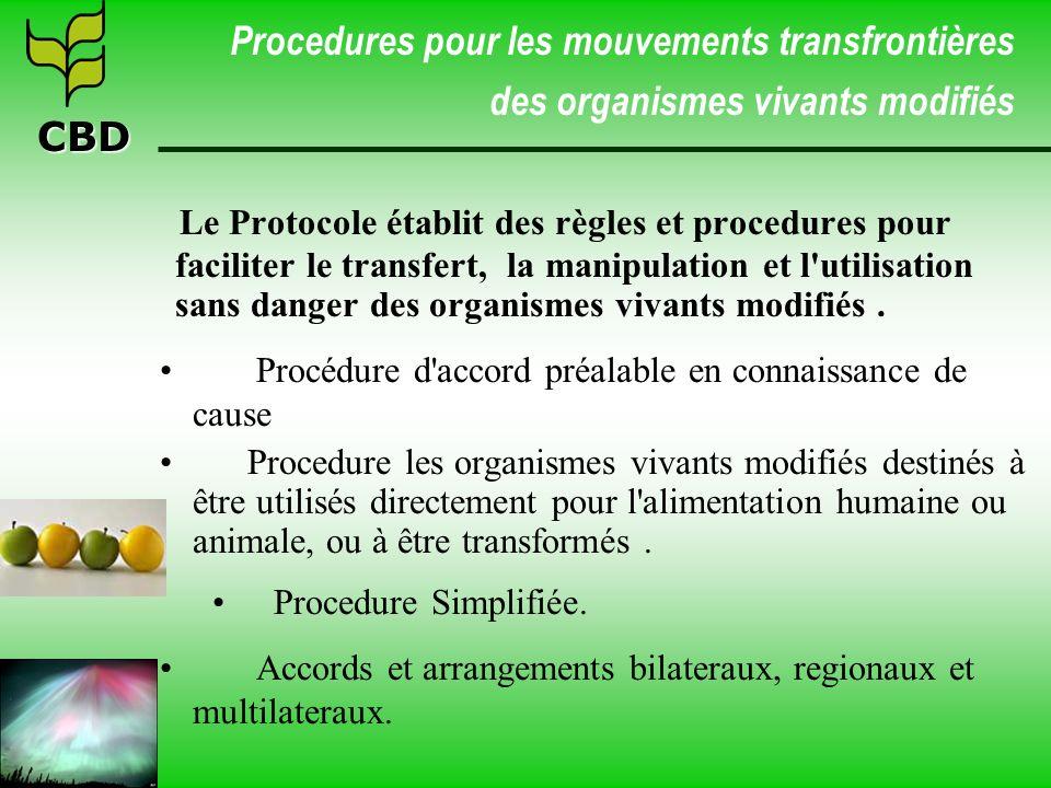 CBD Procedures pour les mouvements transfrontières des organismes vivants modifiés Le Protocole établit des règles et procedures pour faciliter le tra