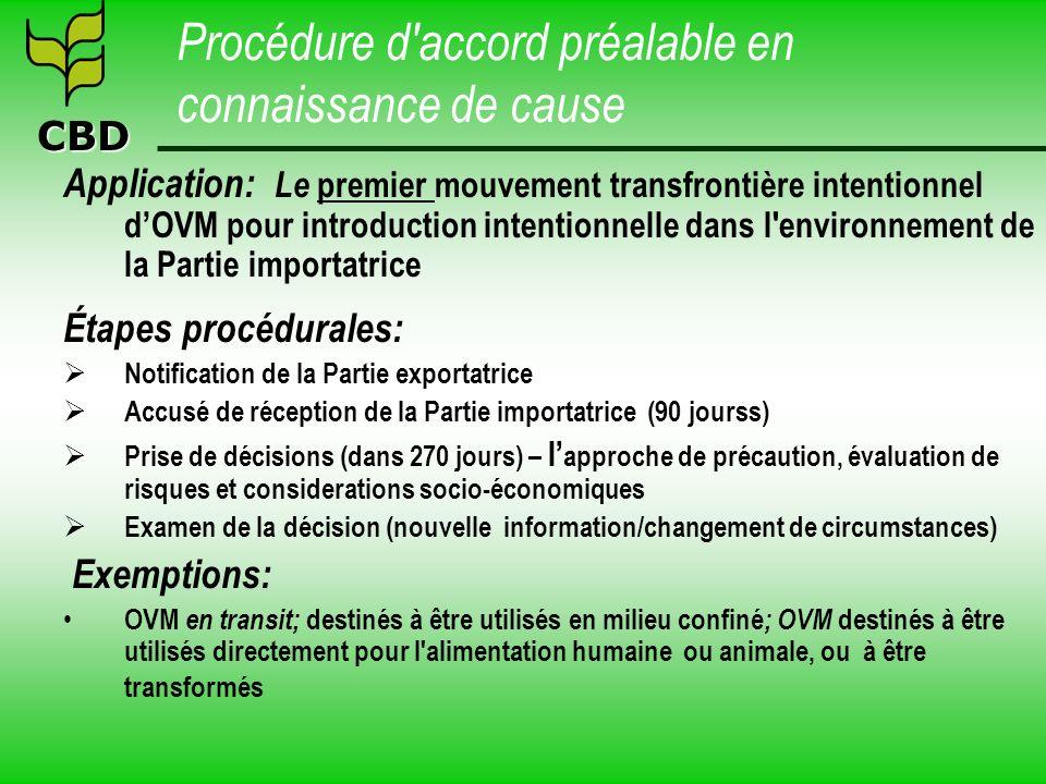 CBD Procédure d'accord préalable en connaissance de cause Application: Le premier mouvement transfrontière intentionnel dOVM pour introduction intenti