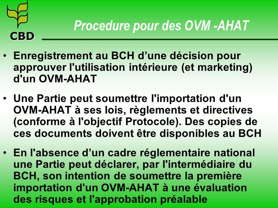 CBD Procedure pour des OVM -AHAT Enregistrement au BCH dune décision pour approuver l'utilisation intérieure (et marketing) d'un OVM-AHAT Une Partie p