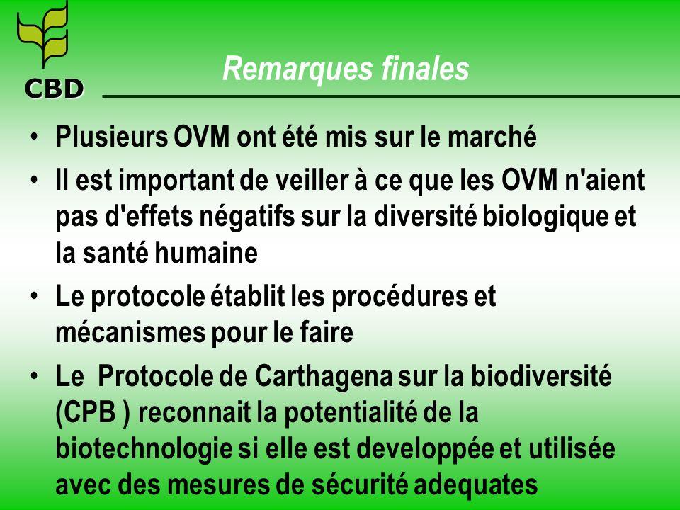 CBD Remarques finales Plusieurs OVM ont été mis sur le marché Il est important de veiller à ce que les OVM n'aient pas d'effets négatifs sur la divers