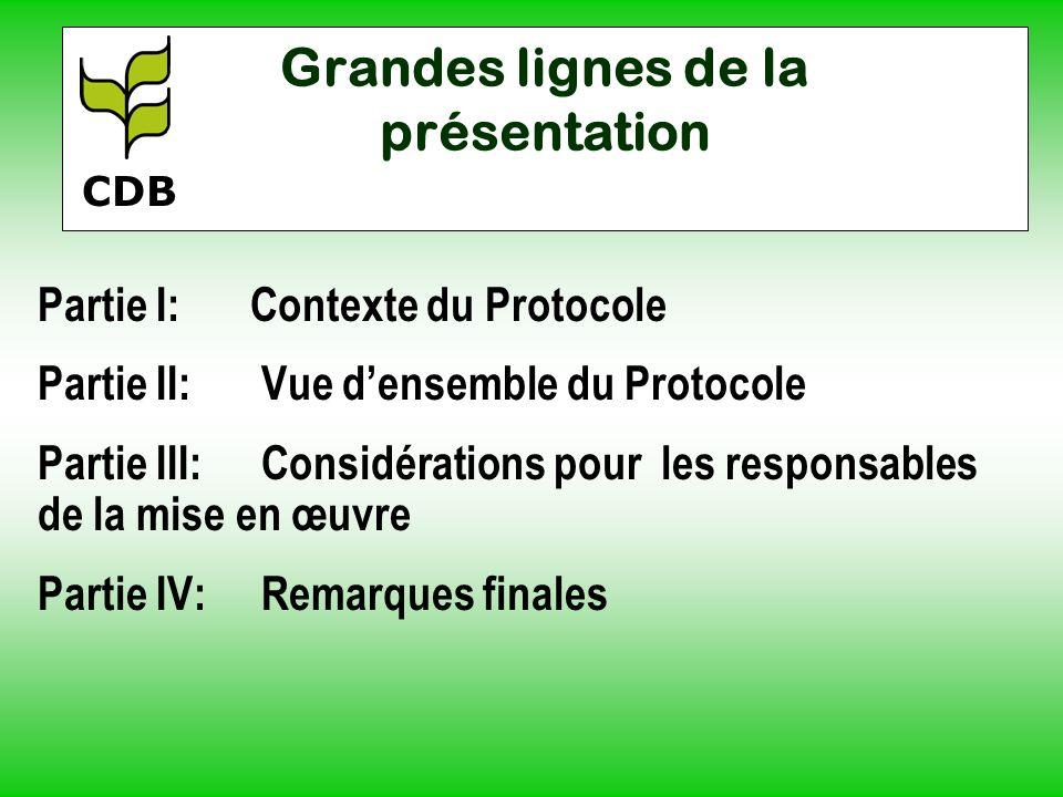 Grandes lignes de la présentation Partie I:Contexte du Protocole Partie II: Vue densemble du Protocole Partie III: Considérations pour les responsable