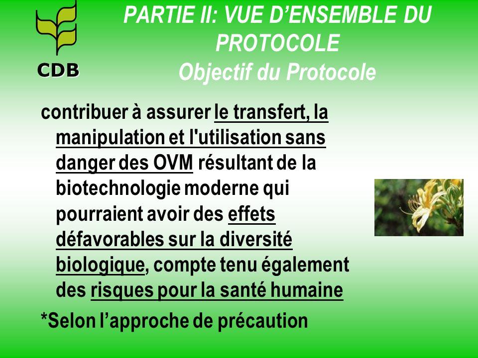 PARTIE II: VUE DENSEMBLE DU PROTOCOLE Objectif du Protocole contribuer à assurer le transfert, la manipulation et l'utilisation sans danger des OVM ré