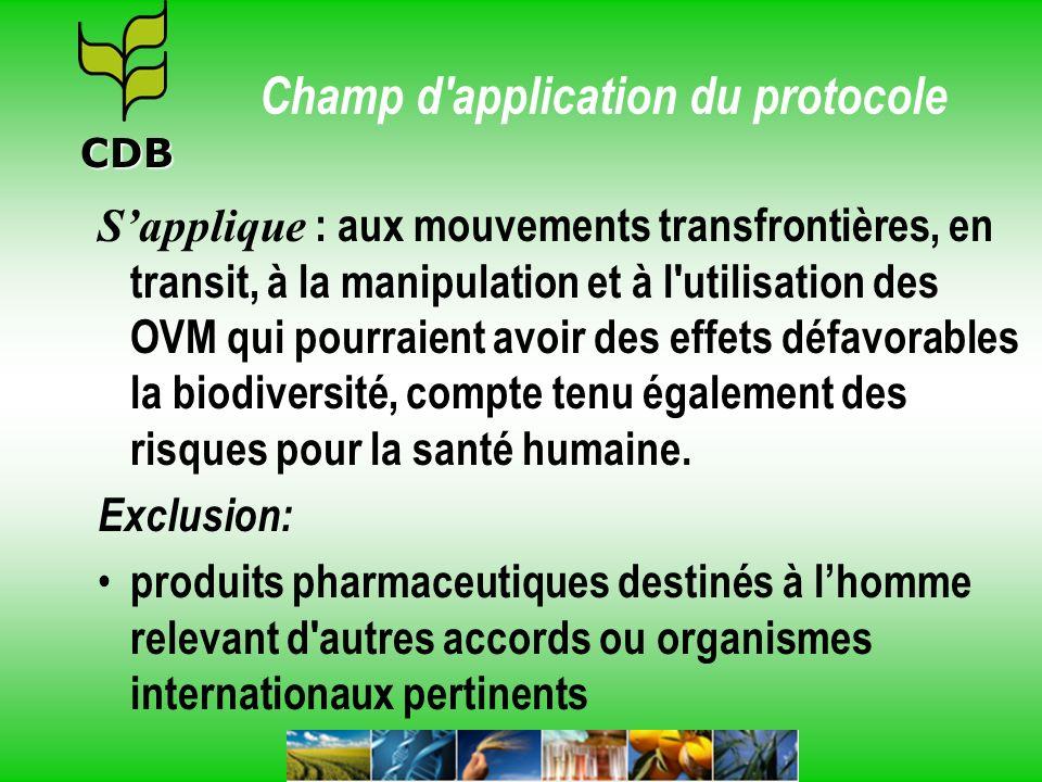 Champ d'application du protocole Sapplique : aux mouvements transfrontières, en transit, à la manipulation et à l'utilisation des OVM qui pourraient a