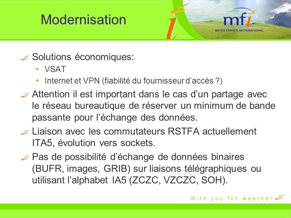 Modernisation Solutions économiques: VSAT Internet et VPN (fiabilité du fournisseur daccès ?) Attention il est important dans le cas dun partage avec