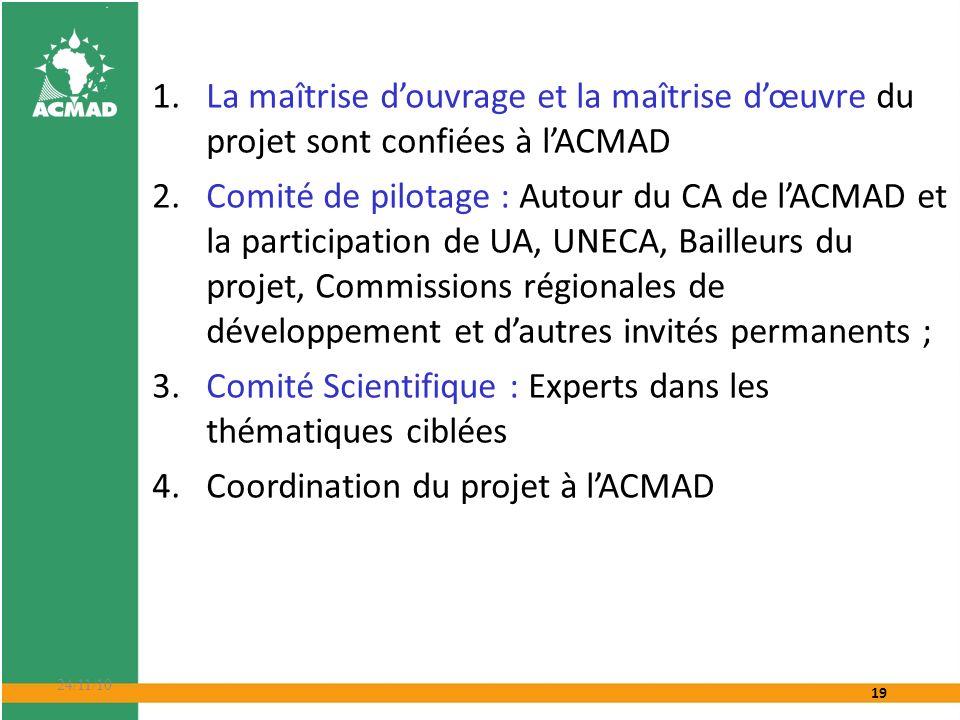 19 24/11/10 1.La maîtrise douvrage et la maîtrise dœuvre du projet sont confiées à lACMAD 2.Comité de pilotage : Autour du CA de lACMAD et la particip