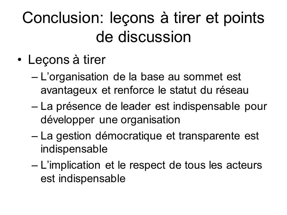 Conclusion: leçons à tirer et points de discussion Leçons à tirer –Lorganisation de la base au sommet est avantageux et renforce le statut du réseau –