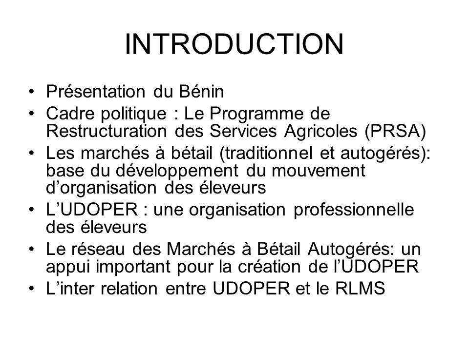 INTRODUCTION Présentation du Bénin Cadre politique : Le Programme de Restructuration des Services Agricoles (PRSA) Les marchés à bétail (traditionnel