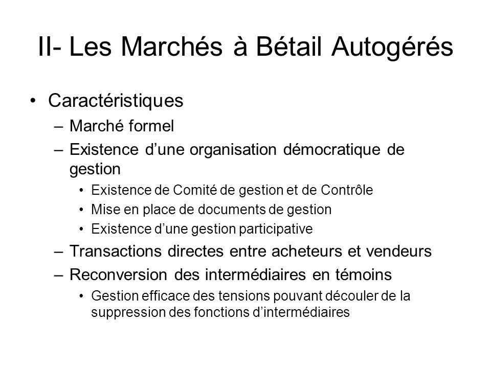 II- Les Marchés à Bétail Autogérés Caractéristiques –Marché formel –Existence dune organisation démocratique de gestion Existence de Comité de gestion