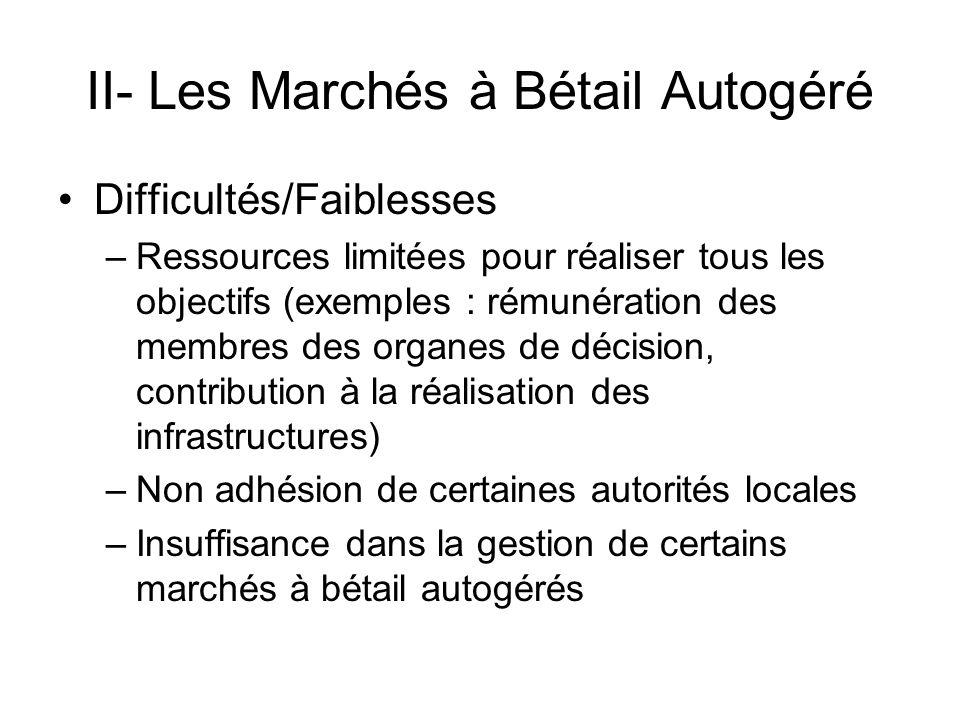 II- Les Marchés à Bétail Autogéré Difficultés/Faiblesses –Ressources limitées pour réaliser tous les objectifs (exemples : rémunération des membres de