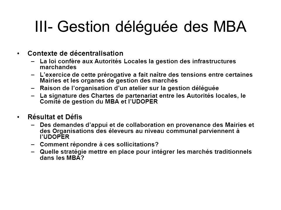 III- Gestion déléguée des MBA Contexte de décentralisation –La loi confère aux Autorités Locales la gestion des infrastructures marchandes –Lexercice