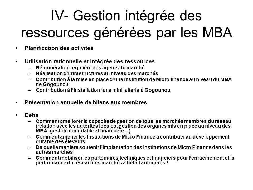 IV- Gestion intégrée des ressources générées par les MBA Planification des activités Utilisation rationnelle et intégrée des ressources –Rémunération