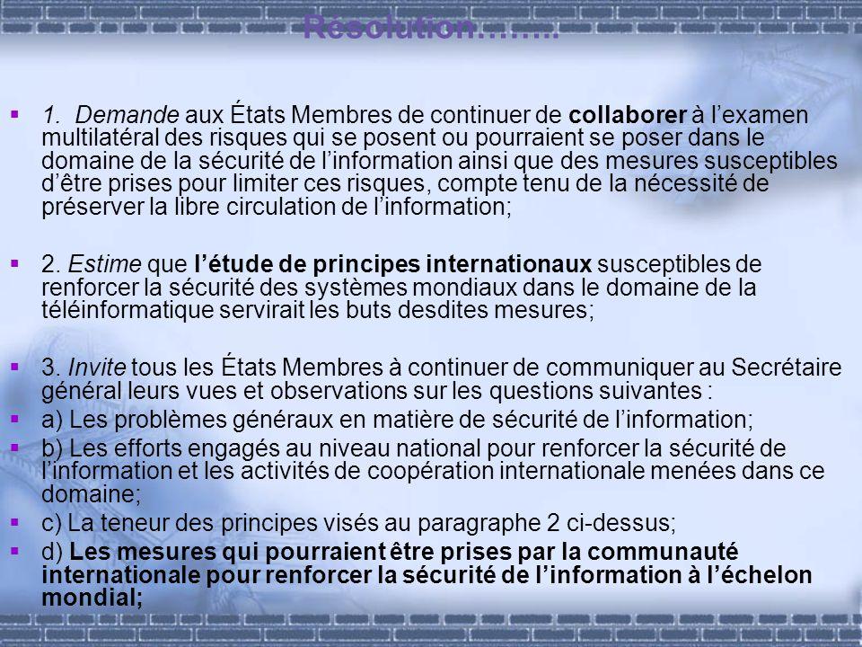 Résolution…….. 1. Demande aux États Membres de continuer de collaborer à lexamen multilatéral des risques qui se posent ou pourraient se poser dans le