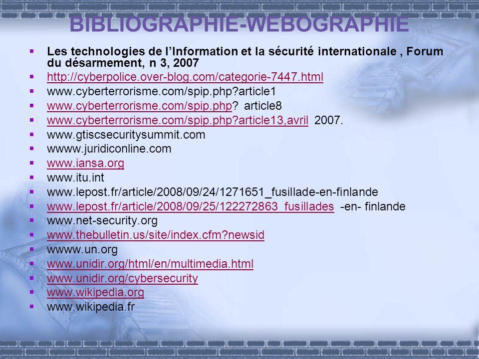 BIBLIOGRAPHIE-WEBOGRAPHIE Les technologies de lInformation et la sécurité internationale, Forum du désarmement, n 3, 2007 http://cyberpolice.over-blog.com/categorie-7447.html www.cyberterrorisme.com/spip.php article1 www.cyberterrorisme.com/spip.php.