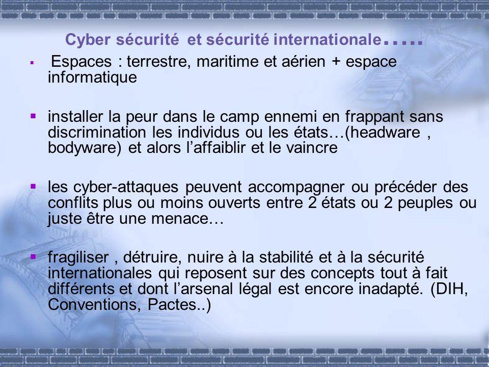 Cyber sécurité et sécurité internationale ….. Espaces : terrestre, maritime et aérien + espace informatique installer la peur dans le camp ennemi en f