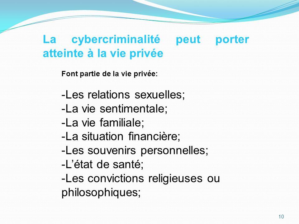 La cybercriminalité peut porter atteinte à la vie privée Font partie de la vie privée: -Les relations sexuelles; -La vie sentimentale; -La vie familiale; -La situation financière; -Les souvenirs personnelles; -Létat de santé; -Les convictions religieuses ou philosophiques; 10