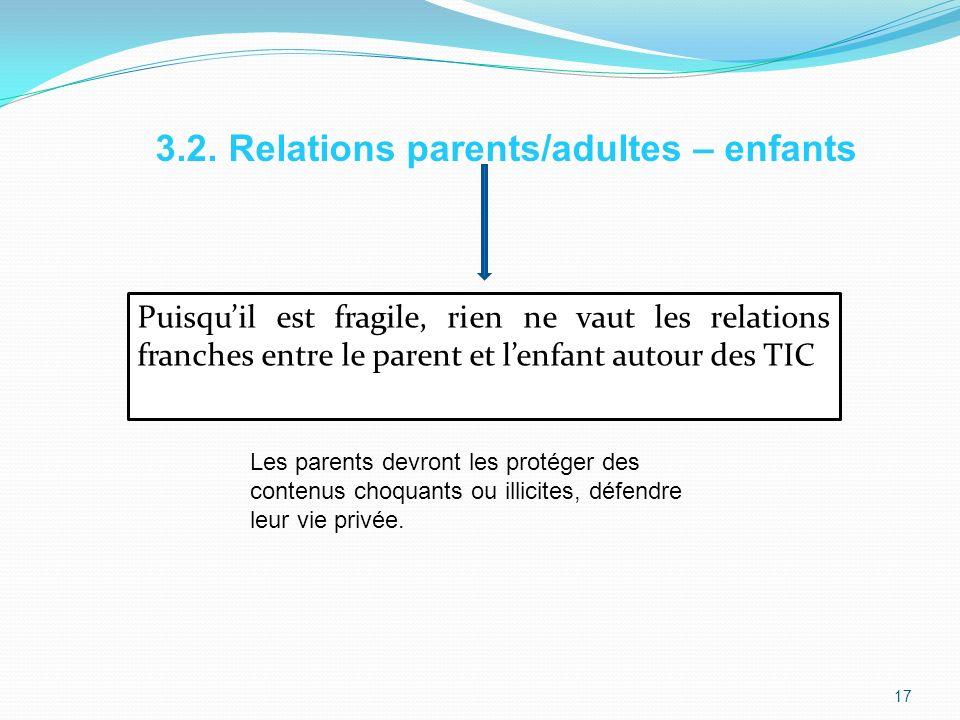 Puisquil est fragile, rien ne vaut les relations franches entre le parent et lenfant autour des TIC 3.2.