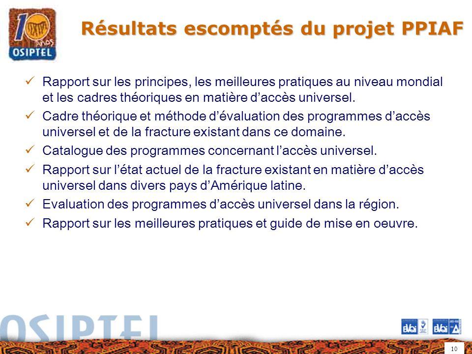 10 Résultats escomptés du projet PPIAF Rapport sur les principes, les meilleures pratiques au niveau mondial et les cadres théoriques en matière daccès universel.