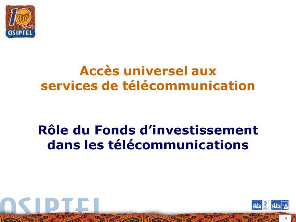 19 Accès universel aux services de télécommunication Rôle du Fonds dinvestissement dans les télécommunications