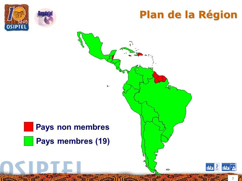5 Pays membres (19) Pays non membres Plan de la Région