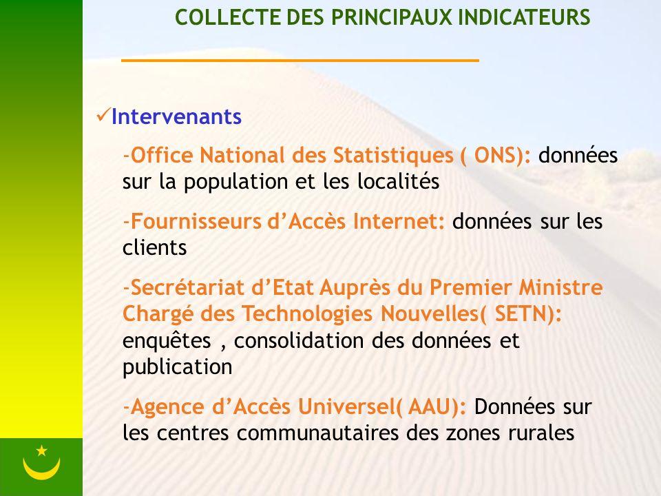 COLLECTE DES PRINCIPAUX INDICATEURS Intervenants -Office National des Statistiques ( ONS): données sur la population et les localités -Fournisseurs dA