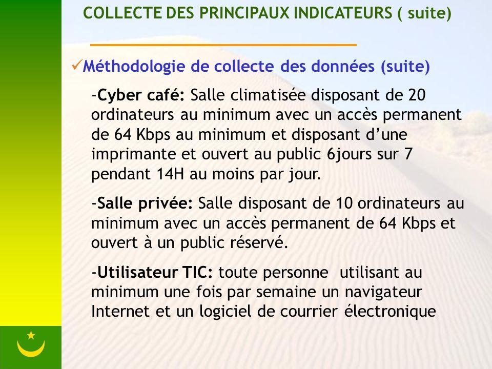 COLLECTE DES PRINCIPAUX INDICATEURS ( suite) Méthodologie de collecte des données (suite) -Cyber café: Salle climatisée disposant de 20 ordinateurs au