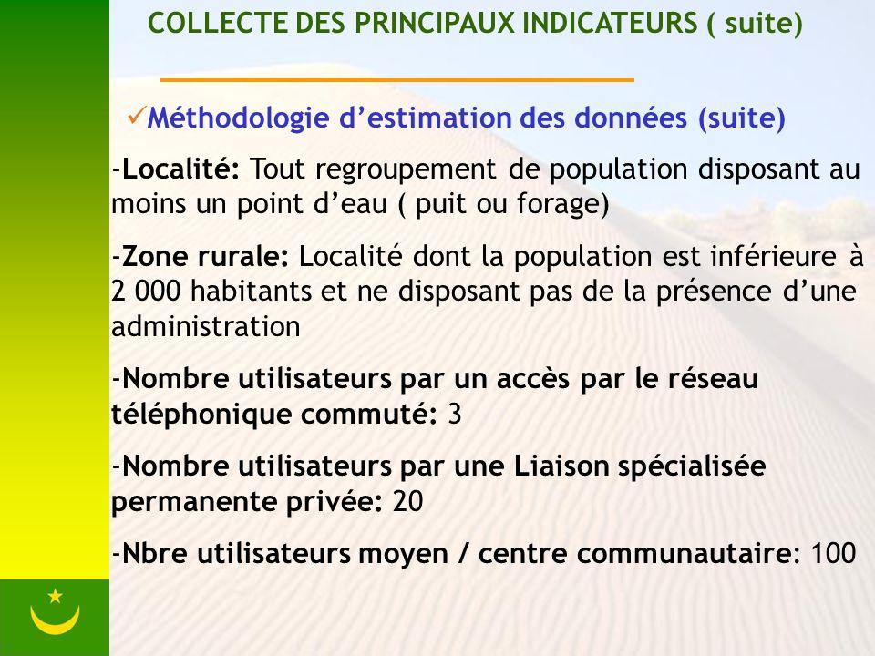 COLLECTE DES PRINCIPAUX INDICATEURS ( suite) Méthodologie destimation des données (suite) -Localité: Tout regroupement de population disposant au moins un point deau ( puit ou forage) -Zone rurale: Localité dont la population est inférieure à 2 000 habitants et ne disposant pas de la présence dune administration -Nombre utilisateurs par un accès par le réseau téléphonique commuté: 3 -Nombre utilisateurs par une Liaison spécialisée permanente privée: 20 -Nbre utilisateurs moyen / centre communautaire: 100